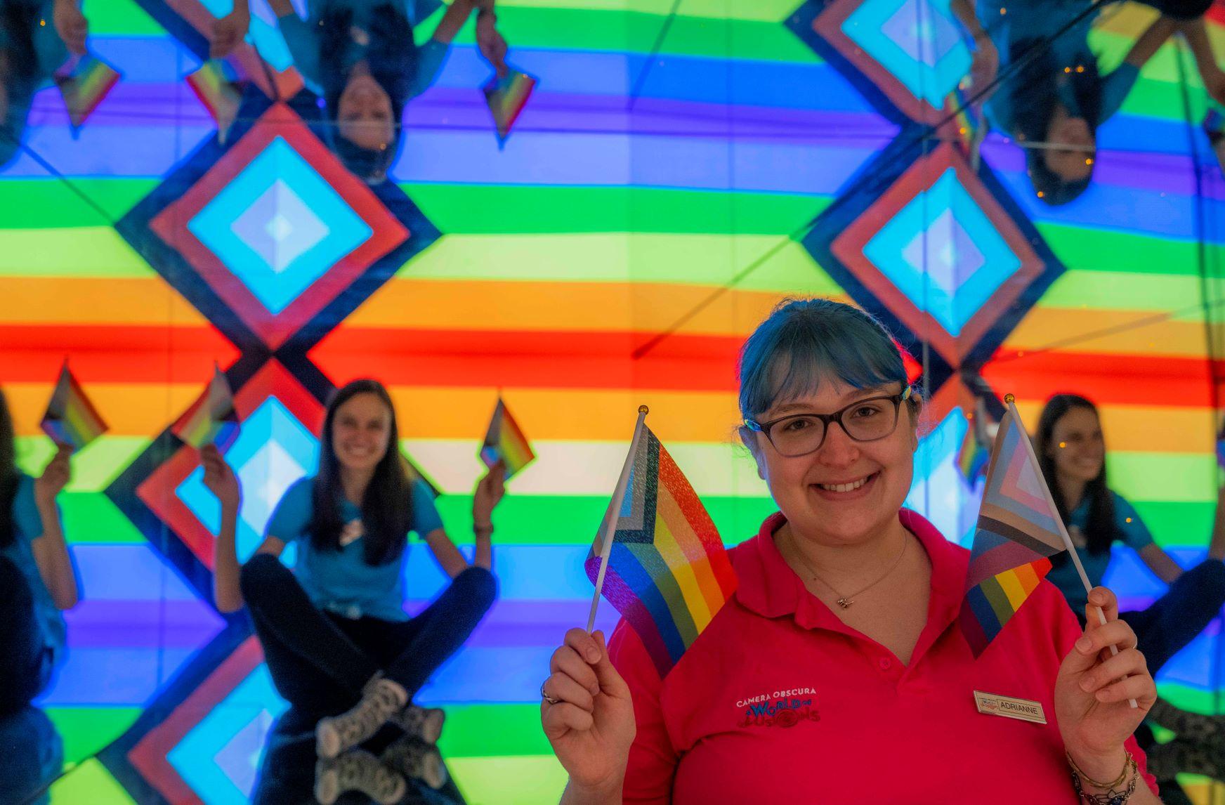 Lisa and Adrianne celebrate Pride Month in the Giant Kaleidosphere June 2021