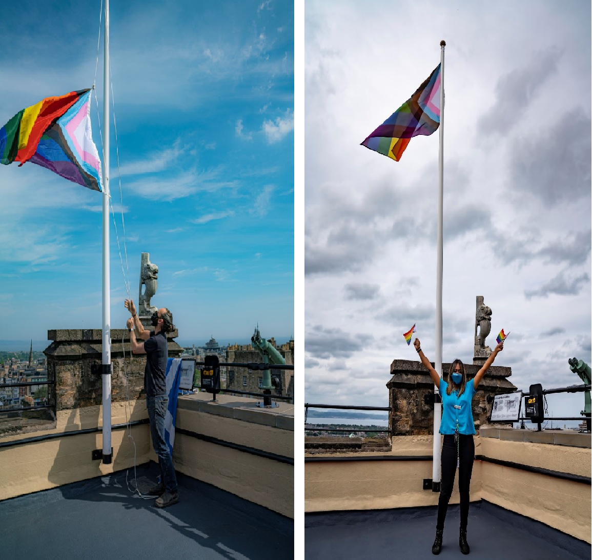 The Progress Flag on the rooftop at Camera Obscura