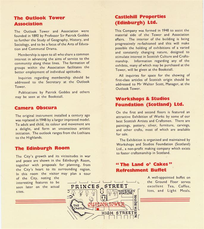 1950s Outlook Tower leaflet inside