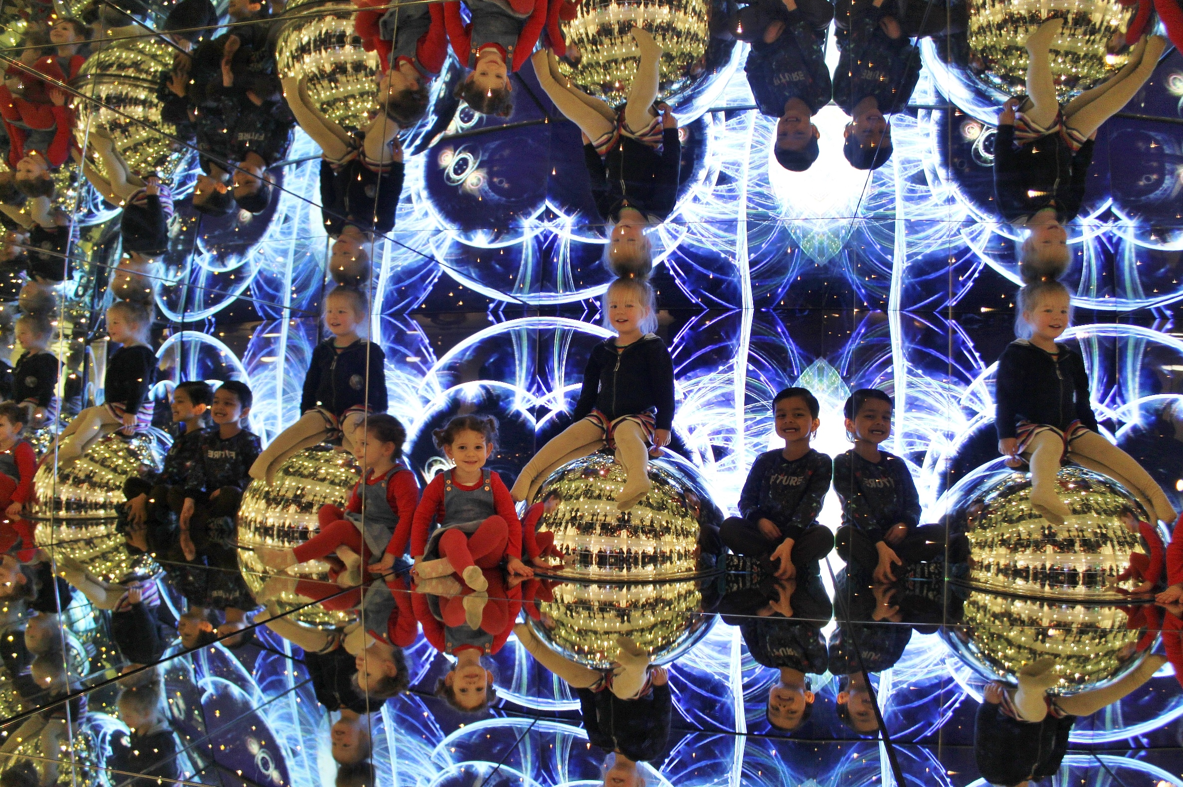 Toddlers in giant kaleidoscope for Teeny Tiny Toddler Fest 2019