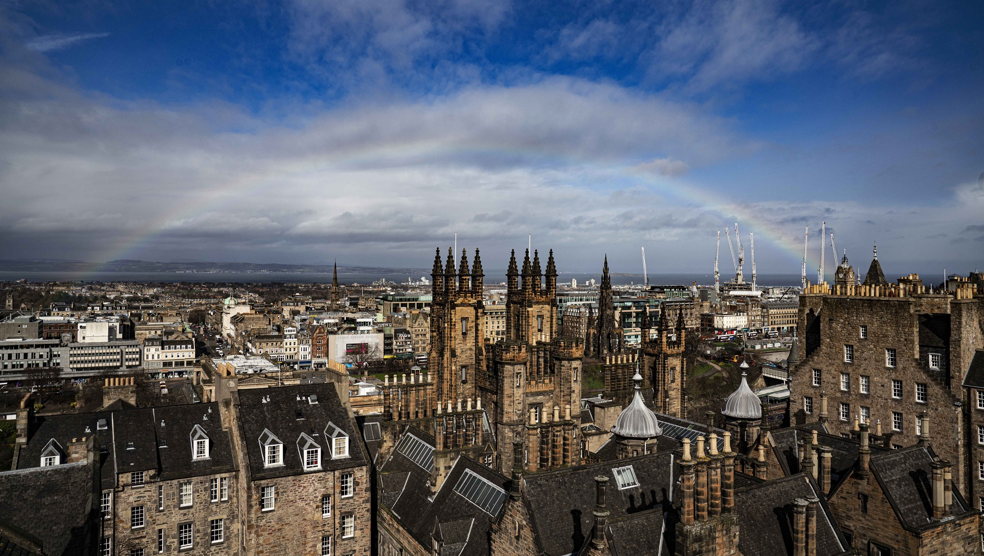 Rainbow over Edinburgh - background