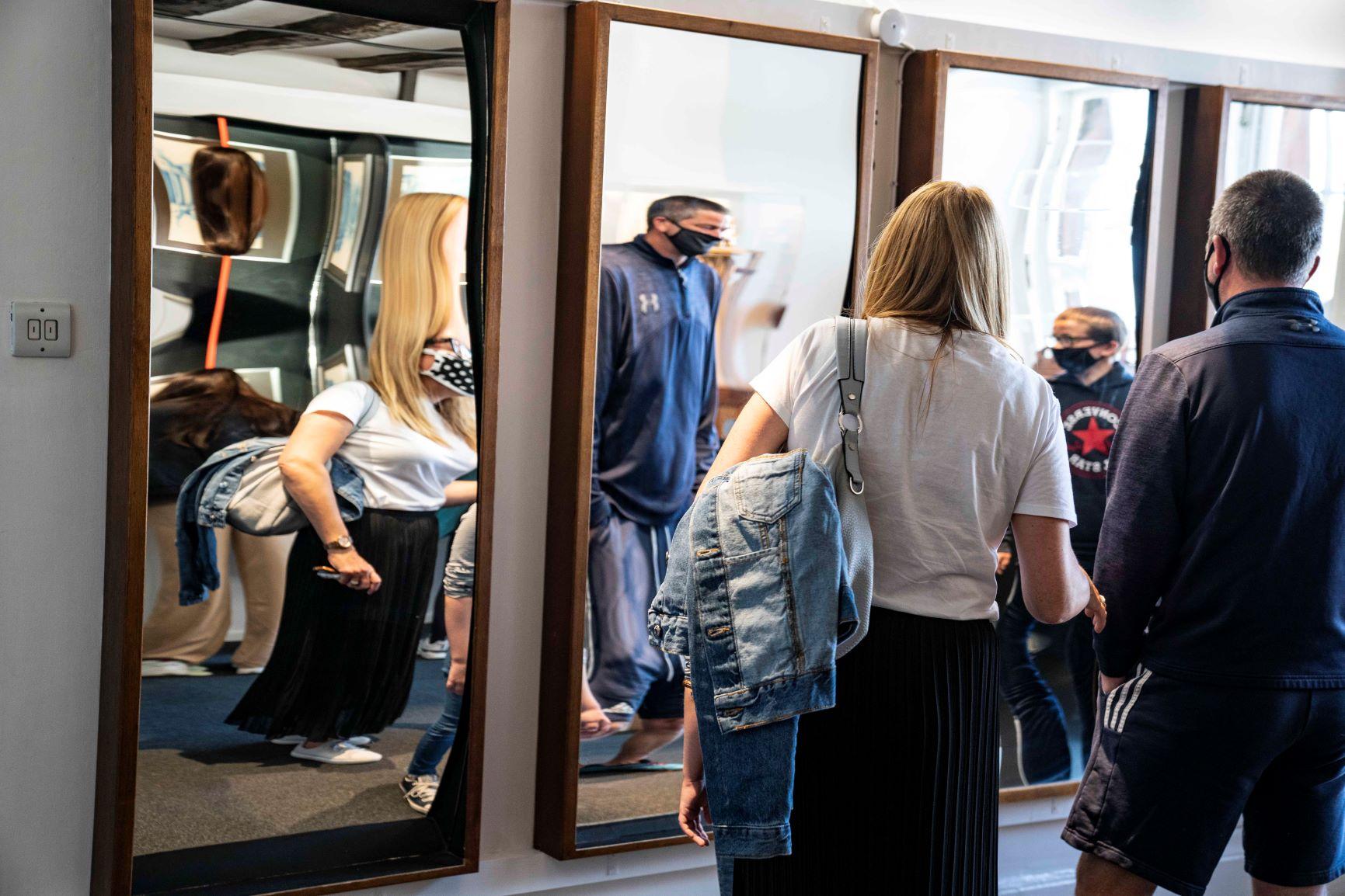 Visitors at Bendy Mirrors