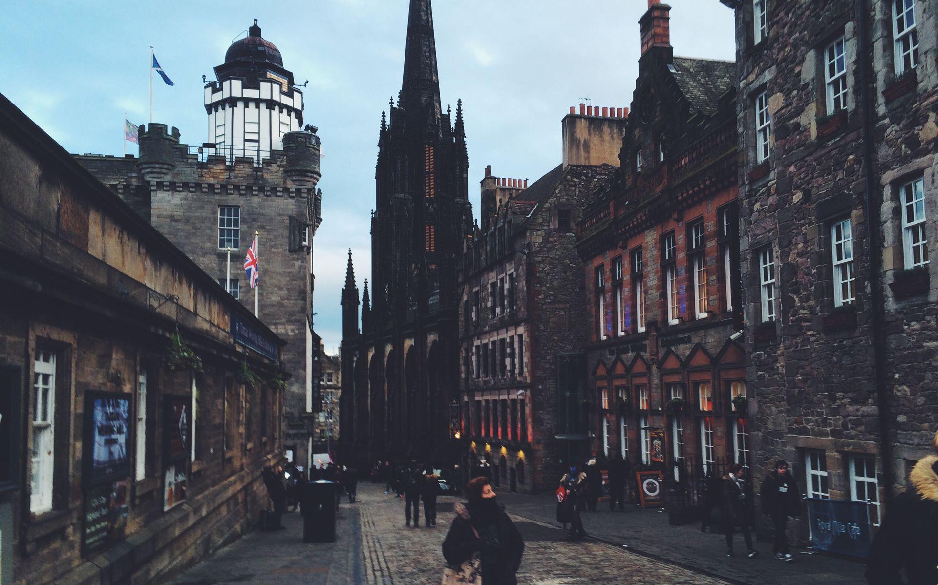 View of the Outlook Tower down Castlehill, Edinburgh