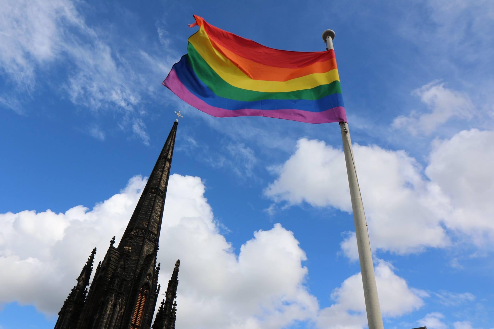 Rainbow Flag on the rooftop at Camera Obscura, Edinburgh