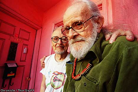 Harry Hay (right), 88, with his partner of 37 years, John Burnside, continues as an outspoken advocate for gay activism. Chronicle photo by Thor Swift