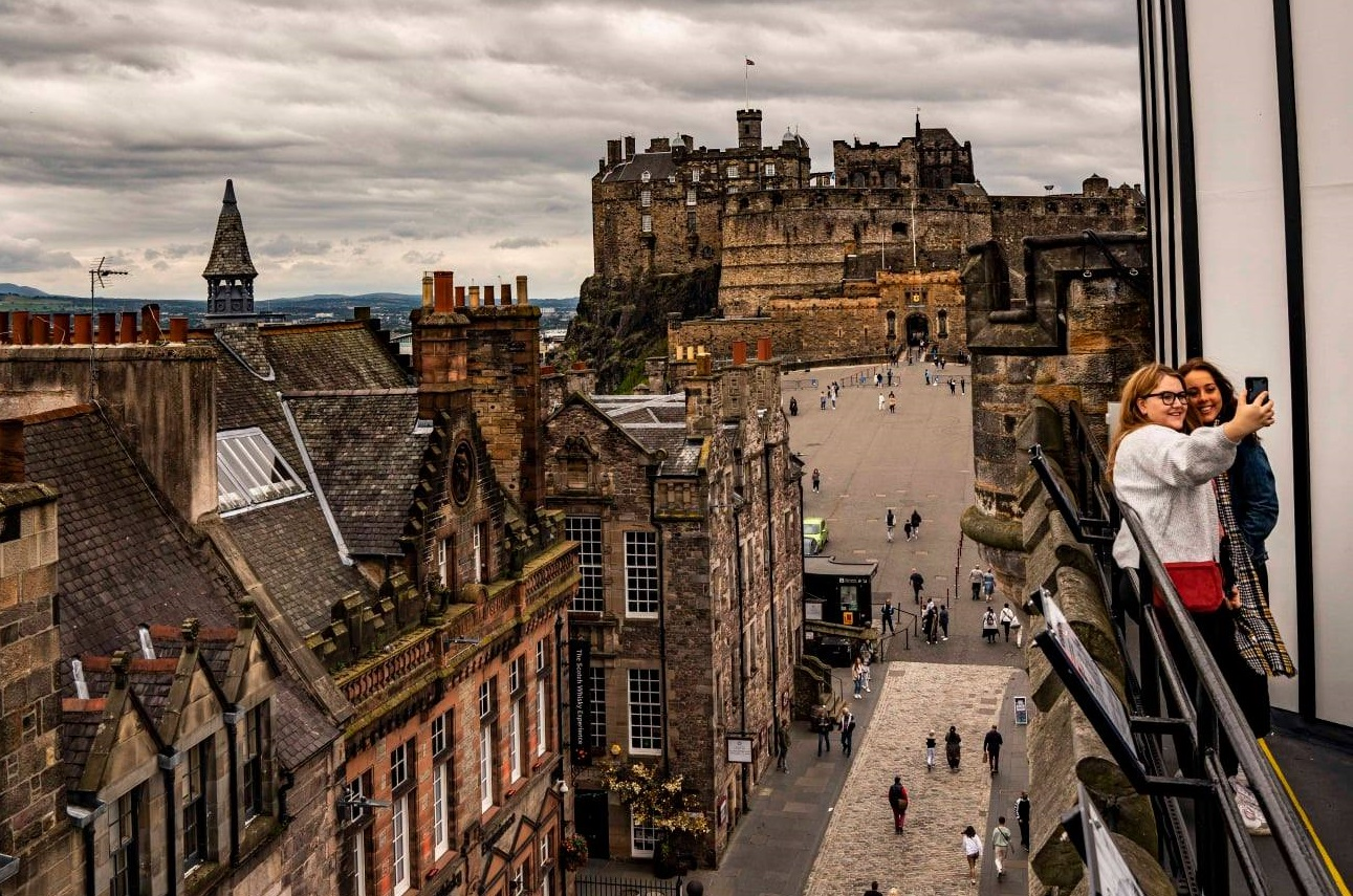Rooftop View of Castlehill and Edinburgh Castle